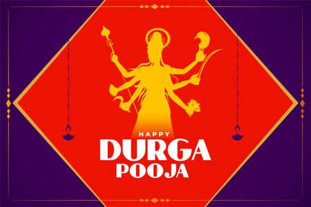 durga puja celebration card with god idol