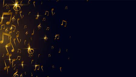golden music notes background design