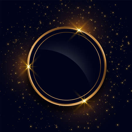 sparkling circle golden frame with text space
