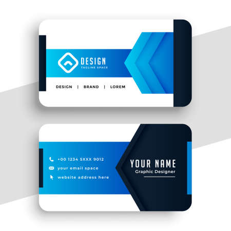 stylish blue geometric business card design