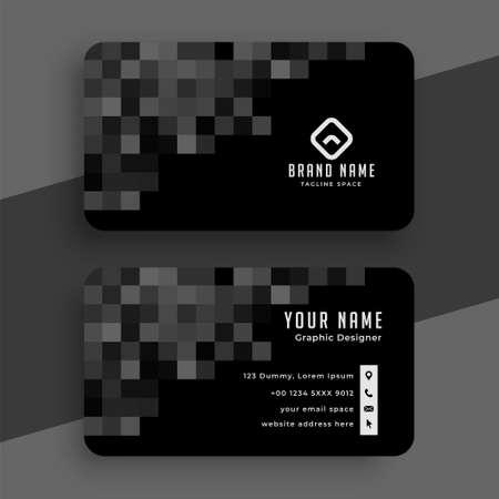 black pixel business card template design