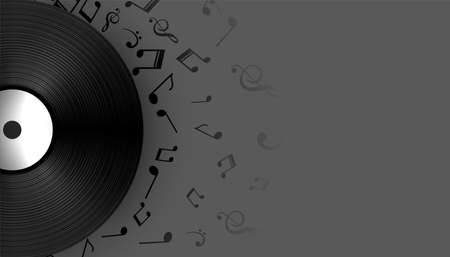 music vinyl record label with sound notes