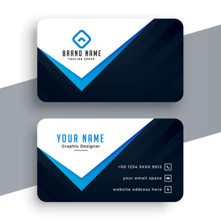elegant blue business card in creative style