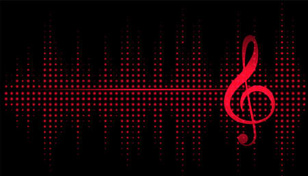 music note with equalizer frequency background Иллюстрация
