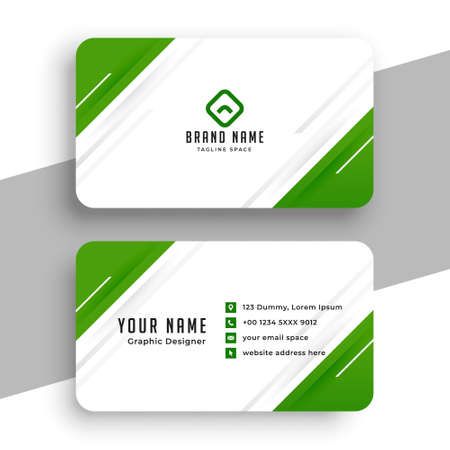 modern green and white business card design