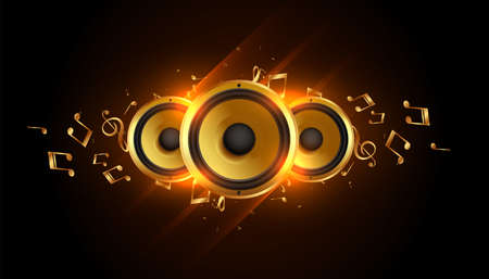 glowing music speakers with sound notes background Иллюстрация