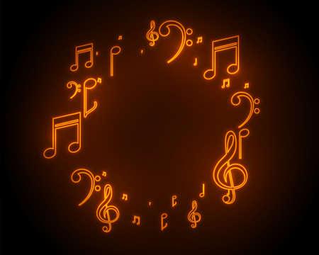 music sound notes frame background