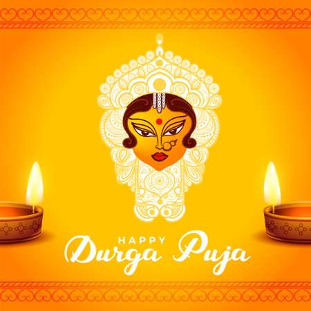 durga pooja festival card with realistic diya