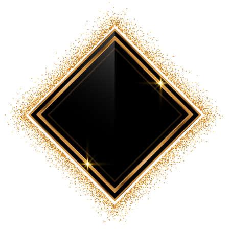 empty glitter golden frame background