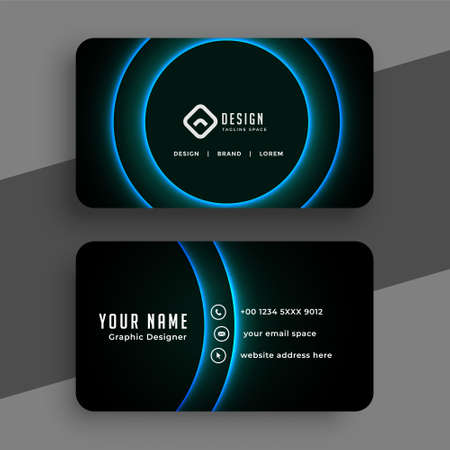 black business card with glowing blue curve lines