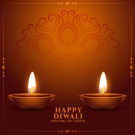 realistic happy diwali background with diya decoration