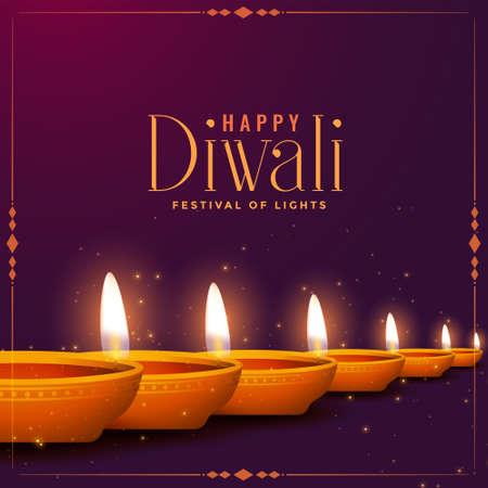 happy diwali diya decorative card design