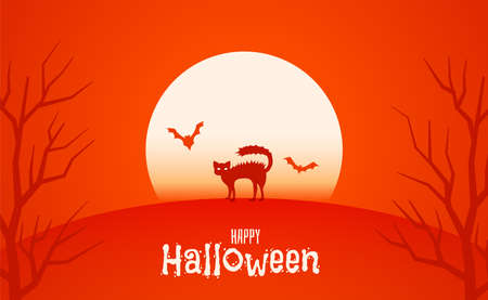 moon with spooky cat halloween background