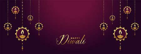 happy diwali banner with decorative golden diya art Illustration