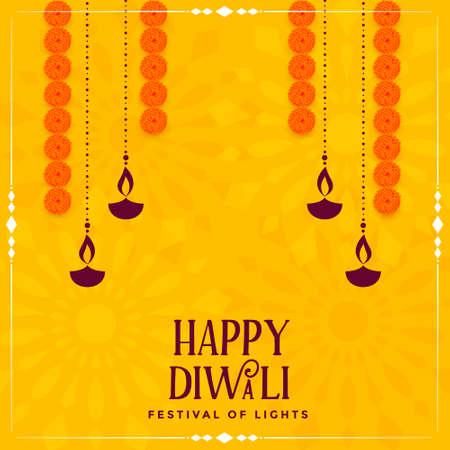 happy diwali traditional yellow decorative card design Illustration