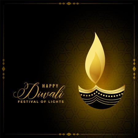 golden happy diwali diya background design Illustration
