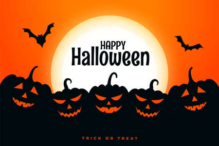 happy halloween festival card with pumpkins in different expressions