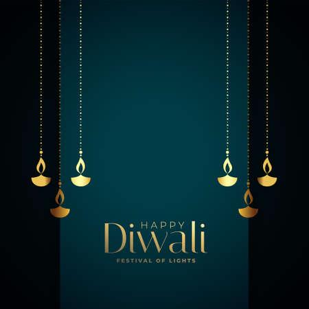 premium happy diwali card with golden diya design