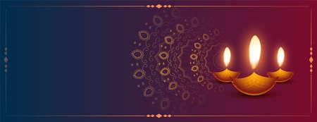 decorative happy diwali glowing diya banner design Illustration