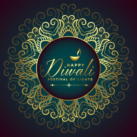 happy diwali golden mandala style card design Illustration