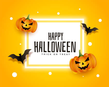 realistic happy halloween card with bats and pumpkins