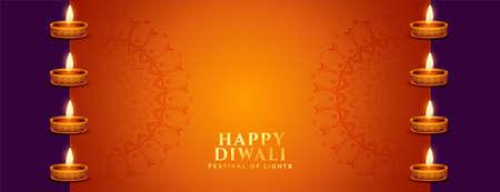 happy diwali orange banner with diya decoration