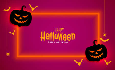 happy halloween banner with neon frame Illustration