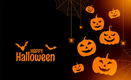 flat happy halloween card with pumpkins and spiders