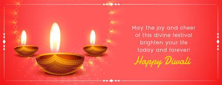 happy diwali wishes banner with realistic diya