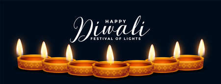 traditional happy diwali decorative diya banner design Illustration