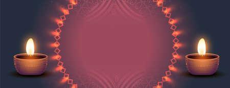 decorative diwali banner realistic design Illustration