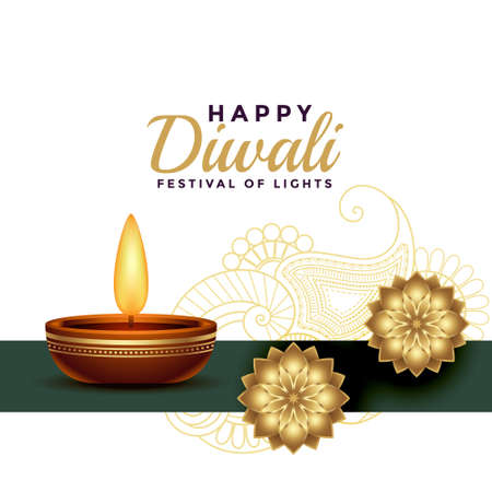 happy diwali greeting golden yellow realistic background