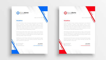 modern business letterhead template in blue and red colors