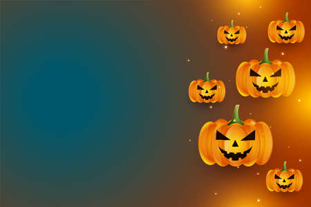 realistic laughing halloween pumpkins with text space