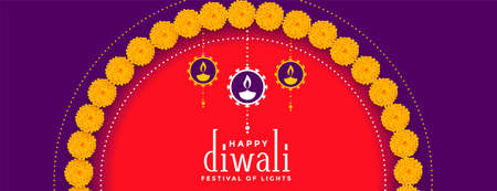 happy diwali colorful banner with flower decoration Illustration