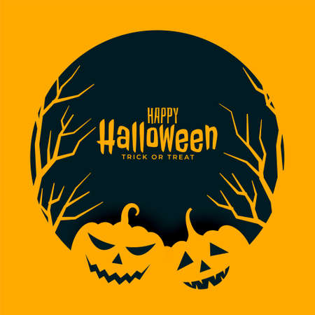 flat happy halloween yellow background with trees and pumpkins