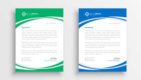 stylish business company letterhead in green and blue color