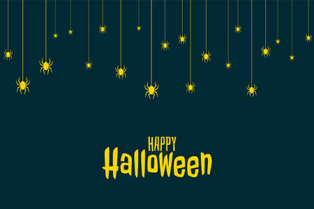 flat halloween card with falling spiders
