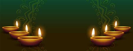 realistic diya decoration diwali banner