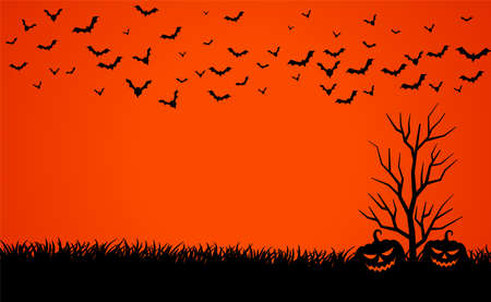 scary red sky with pumpkins and bats halloween background Illustration
