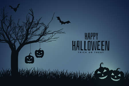 scary night halloween scene with pumpkin and tree