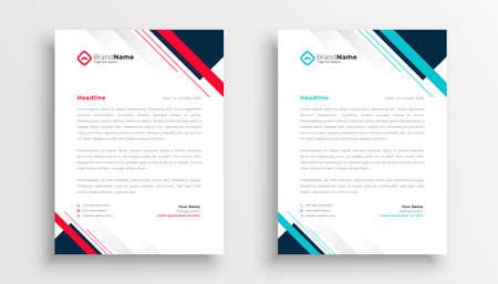 modern geometric business company letterhead template Illustration
