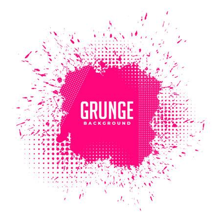 grunge pink ink splatter halftone background