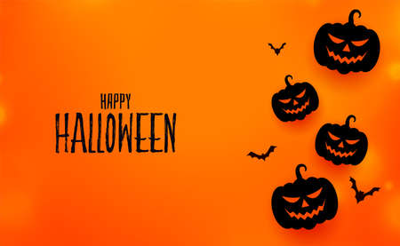 happy halloween event card with pumpkins and bats