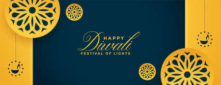 happy diwali yellow decorative banner design