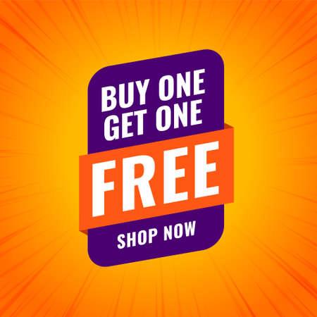 buy one get one free shopping sale banner design Illustration