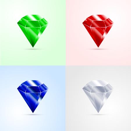 Set of gems, emerald, ruby, sapphire, diamond Illustration
