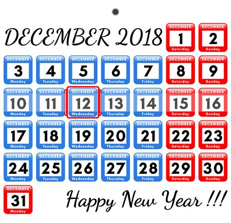 December 2018. Vector template for the monthly calendar 2018