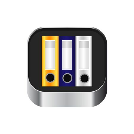 Archive of folders icon. Volumetric, realistic, metalic. Vector icons for web and mobile minimalist design. Ilustração