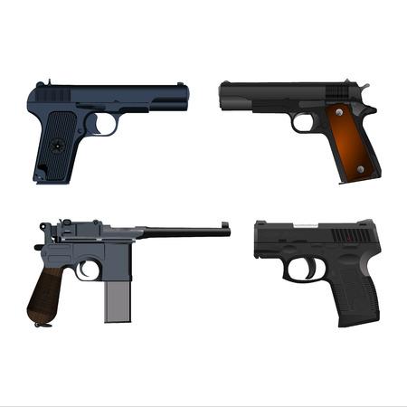Realistic guns set vector illustration